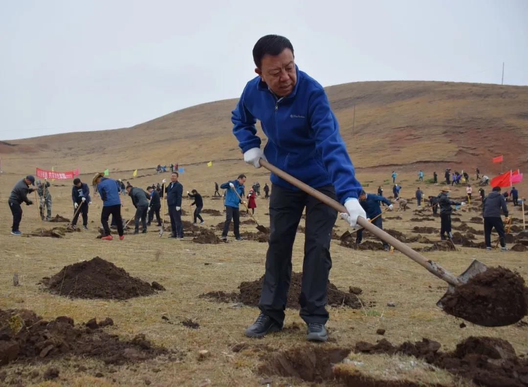 俞成辉等参加合作地区义务植树